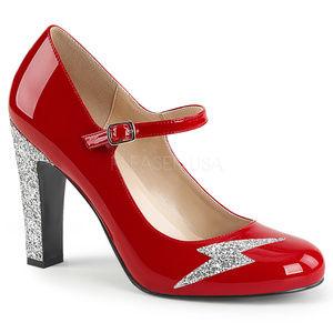 Shoes - 4 Inch High Heel Glitter Lightning Bolt Shoes Red